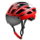 Bike Helmet with Detachable Magnetic Visor Shield Goggles & Pads Adjustable Cycling Helmet for Mountain & Road Safety Protection Bicycle Helmet for Men Women-Black,Red,Yellow,Blue,Green-Red Review