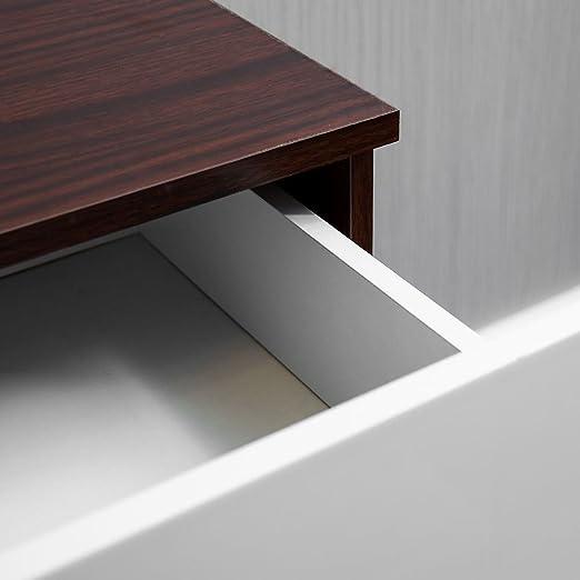 4/tiroirs avec poign/ées en m/étal et Coureurs Unique Anti-Bowing tiroir Support Home Discount Hulio Commode Blanc Brillant et Noyer Meubles de Chambre /à Coucher