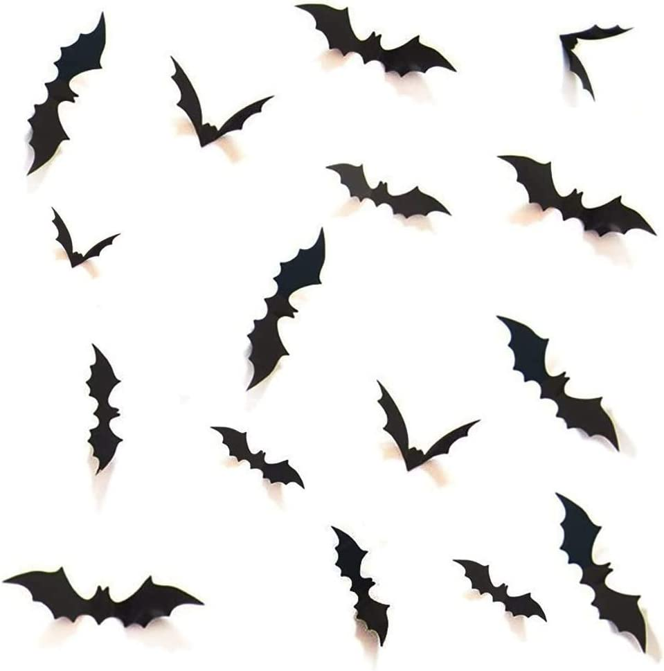 Halloween 3D Bats Decoration, 96Pcs Halloween Party Supplies 4 Sizes Realistic PVC Scary Bat Wall Decal Wall Sticker for Home Decor DIY Bathroom Decor Window Indoor Decorations