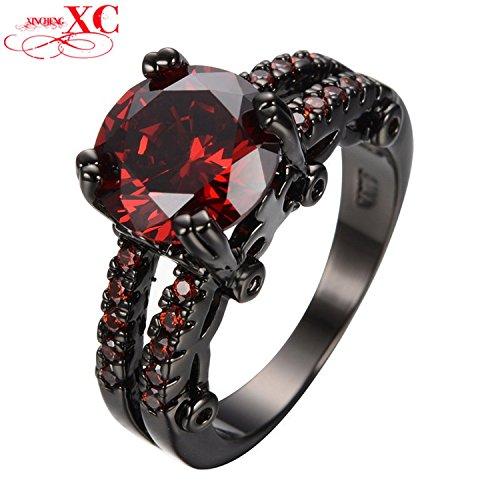 Dudee Jewelry Ruby Jewelry Red Zircon Ring Vintage Black Gold Filled Women Crystal Ring Women Bohemian Wedding Jewelry Anel