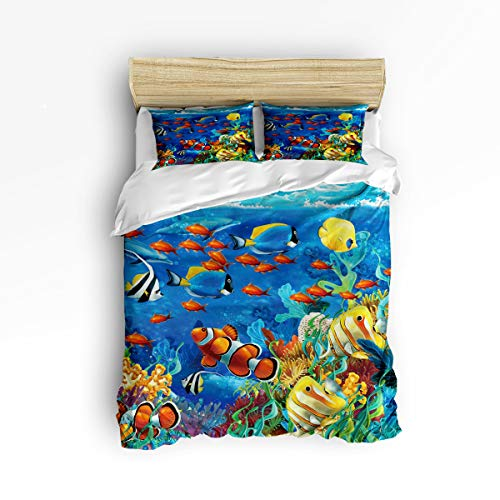 YEHO Art Gallery Soft 3 Piece Duvet Cover Set (1 Comforter Cover with 2 Pillow Cases) for Girls Boys,Blue Ocean Tropical Fish Coral Undersea World Pattern Christmas Bedding Sets,Full Size