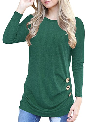 Aliex Women's Casual Tunic Top Long Sleeve Blouse T-Shirt Button Decor Green XL