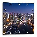 3dRose Danita Delimont - Cities - UAE, Cityscape of colorful Dubai Marina at night. - 15x15 Wall Clock (dpp_277089_3)