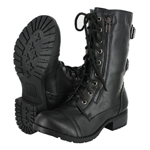 Top Moda Pack-72 Black Military Lace up Mid Calf Combat Boot (6.5 B(M) US, Premium Black+)