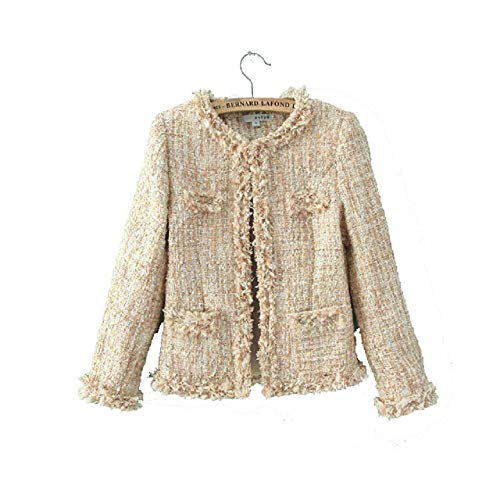 - Women's Tweed Sequin Inlaid Plaid Check Long Sleeved Jacket Coat Blazer 2color (Asian L, Pink)