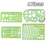 EVNEED 4 Pcs Plastic Measuring Templates Geometric Rulers for Office and School,Building formwork,Drawings templates,Transparent green