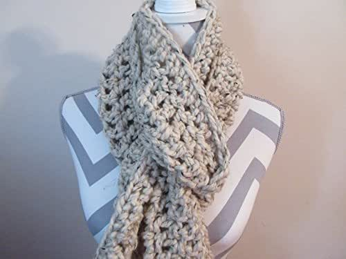 Handmade Crocheted Oatmeal Chunky Scarf Extra Long Boho Handmade by Ladies Fashion Wide Design One Size Fits All Gift for Her or Him Gift Bag and Ribbon Included