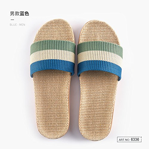 fankou Linen Slippers Home Couple of Men and Women Indoor Anti-Slip and Deodorization Silent Wooden Floor Home Cool Slippers Summer,44/45, Blue