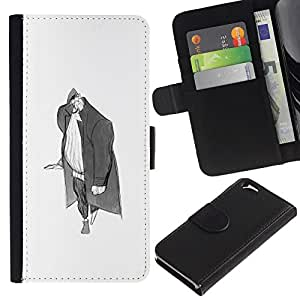 All Phone Most Case / Leather Wallet Case Protective Cover for Apple Iphone 6 4.7 Man Big Grey Pencil Art Drawing Wanderer