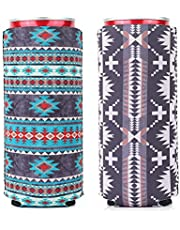 2 Pack Slim Can Cooler,YSIUENG Cute Neoprene Beer Sleeves Fit for 12oz Tall Skinny Cans like White Claw, Truly,Red Bull,Spiked Seltzer,Michelob Ultra Holders/Hugger/Coolies/Insulator
