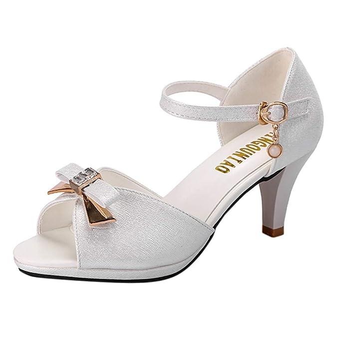 64a06034 Lenfesh_Sandalias de mujer, Mujeres Sandalias de Noche Fiesta Boda Zapatos  de tacón de aguja de mujer Sandalias de verano con punta abierta de mujer:  ...