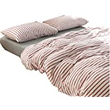 Ningkotex Red Blue Stripe Print 4Pcs Cotton Jersey Knit Duvet Cover Set Plain Dyed Blue King Queen Size Fitted Sheet New (Queen, Grey)