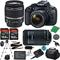 Canon EOS Rebel T5 Camera with 18-55mm IS Lens + 55-250mm STM + 2pcs 16GB Memory Card + Camera Case + Memory Reader + Tripod + 6pc Starter Set - International Version