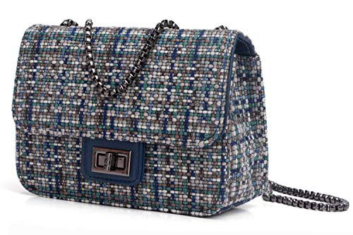 Retro Crossbody Bag for Women Mosaic Tweed Turn-lock Small Shoulder Bag with Chain Strap (Blue)