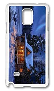 MOKSHOP Adorable house forest artwork Hard Case Protective Shell Cell Phone Cover For Samsung Galaxy Note 4 - PC White