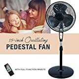 3 Speed Oscillating 18 Inch Pedestal Fan with Remote Control
