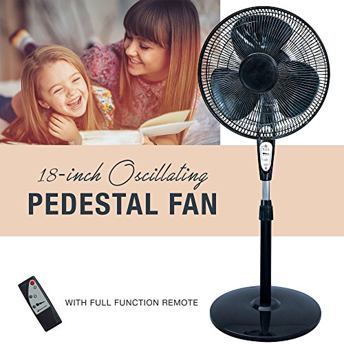 3 Speed Oscillating 18 Inch Pedestal Fan with Remote Control, Adjustable Tilt with Metal Grilles, Black