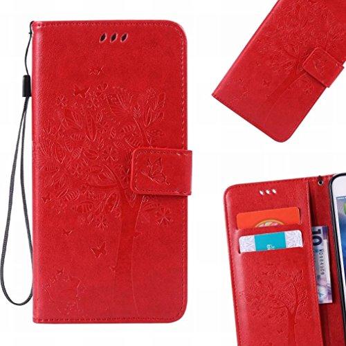 LEMORRY Handyhülle Sony Xperia XZ2 Compact Hülle Ledertasche mit Kartensteckplatz Flip Beutel Schutz Magnetisch SchutzHülle Weich Silikon Cover Schale für Sony XZ2 Compact, Glücklicher Baum (Lila) Rot