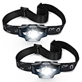 Headlamps, LED Headlight with 1600 Lumens Brightness, Four Lighting Modes, 90¡ãAdjustable Headband, IP45 Waterproof Design, Two Rechargeable for Camping, Hiking, Fishing, Hunting