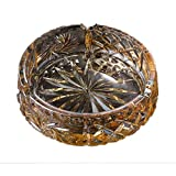 ZDD Crystal Glass Ashtray/Creative Personality Home Practical Ashtray/Decorative Ornaments Gift Gold (ø13cm H4cm)