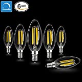 LED Candle Light Bulbs 40W Equivalent E14 LED Light Bulbs Tungsten Halogen Replacement Warm White 2700K 4W Small Edison Screw Filament Candelabra Light Bulbs With 400 Lumens Dimmable 6 Packs by COOWOO