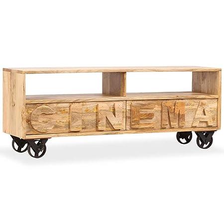 Tavolino Porta Tv Con Ruote.Festnight Mobile Porta Tv Industriale In Legno Massello Di Mango