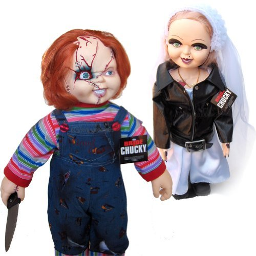 Bride of Chucky Collectors Memorabilia: 26'' Chucky & Tiffany Plush Doll Set Bundled With Stands by Universal