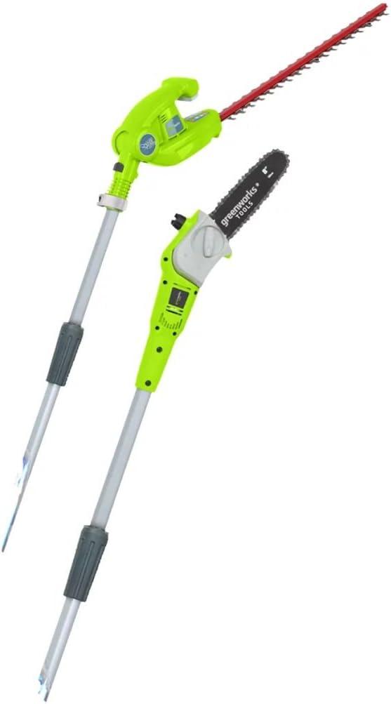 Greenworks Tools 2en1 Podador de altura y cortador de setos telescópico con batería G40PSH, Li-...