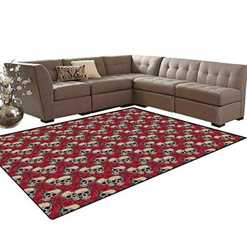 Rose Anti-Skid Area Rugs Graphic Skulls and Red Rose Blossoms Halloween Inspired Retro Gothic Pattern Customize Door mats for Home Mat 6'x8' Vermilion Tan Green]()