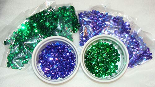 Collection of Sequins - Lot 6mm VTG NOS Round Cup Loose Sequins Paillettes Purple &, Green Crafts - Trim, Embellish, and add Sparkle to Anything You -