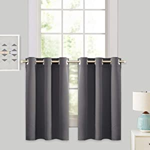 """Grey Blackout Valances Curtain Panels - RYB HOME Thermal Insulated Curtains Tier Short Blind for Kitchen / Living Room Energy Efficient Including 6 Grommets, W 42"""" x L 36"""" / Each Panel, Gray, Set of 2"""