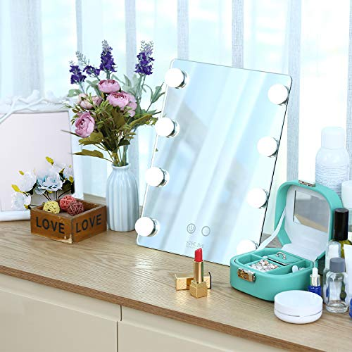 SKM Hollywood Makeup Vanity Mirror with Lights, Large Vanity Makeup mirror with 2 Colors 8 Dimmable LED Bulbs and Touch Control, LED Cosmetic Mirror, Wall Mounted Lighting Mirror 10 x 13 inches