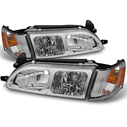 For Toyota Corolla Chrome Replacement Headlights Head Lamps Pair Set + Amber Corner Lamps 4pcs Set ()