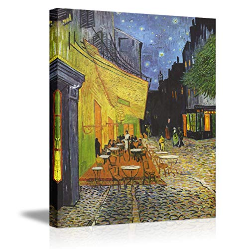Vintage Canvas Wall Art by Van Gogh- Cafe Terrace at Night Stretched Cityscape Oil Painting on Canvas Giclee Print Framed Picture Picabala-16×12