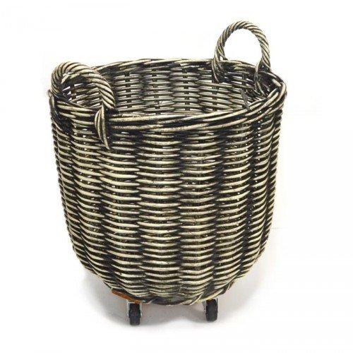 Fireside Log Basket Black & Cream Medium Round Wicker Rattan Wood Storage with Wheels Tri Pendawa Corporation