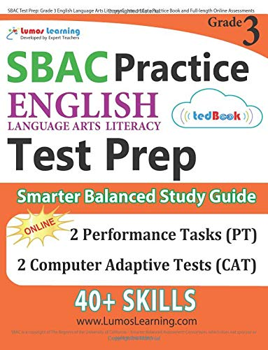 Download SBAC Test Prep: Grade 3 English Language Arts Literacy (ELA) Common Core Practice Book and Full-length Online Assessments: Smarter Balanced Study Guide pdf