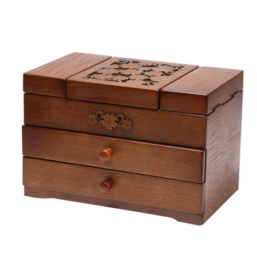 MHKBD-JP Exquieite木製多層クラシックジュエリーコレクションボックスデスクトップ雑貨収納ボックス 収納ケース (色 : ブラウン) B07T1W9ZXG ブラウン