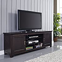 70 Wood TV Stand with Sliding Doors in a Beautiful Espresso Brown Finish