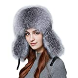Bomber Hat, Fox Fur Leather Winter Knight Cap Men and Women Fashion Hunting Ski Motorcycle Locomotive Pilot Warm Hat