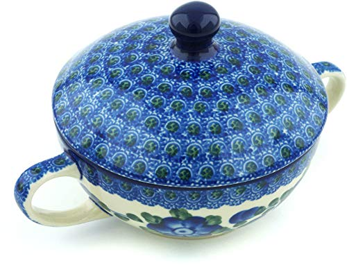 Polish Pottery 8 oz Bouillon Cup with Lid made by Ceramika Artystyczna (Blue Poppies Theme) + Certificate of Authenticity