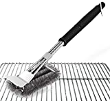 Absofine Grill brush Scraper BBQ Brush Grill 18'' Barbecue Stainless Steel Brush A Storage Bag Best Grilling Accessories Cleaner Grill Lovers