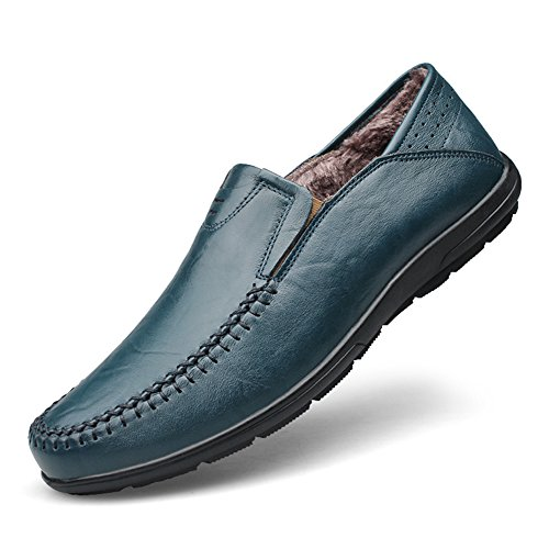 Shenn Hombres Plano Ponerse Clásico Casual Boda Cuero Mocasines Zapatos Peacock+Piel