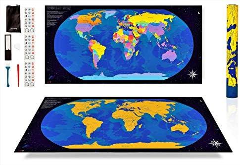 ANFIPO Mapa Para Rascar Scratch Map – Mapa del Mundo de Pared (Azul) y Dorado 840 * 420mm con Países de Colores - Mapamundi Para Rascar y Registrar tus Viajes: Amazon.es: Oficina y papelería