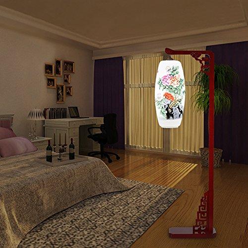 Ceramic Floor Lamp with Handpainted Porcelain Semi-darkness, Red Wood base