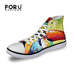 FOR U DESIGNS Cool Tiger Printed Women Ladies Hi-top Lace Up Light Weight Canvas Shoes Flats Comfort Sneakers US 10