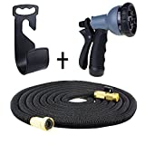 50ft Expandable Water Hose, KUMEDA Stretch Garden Hosepipe with 8 Functions Sprayer Nozzle, 3/4inch Solid Brass Connector Fitting Equipped with Extra Hanger