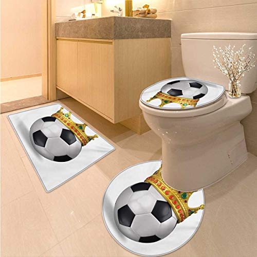 King Bath Rug Set Piece Football Soccer Sports Championship Inspired Ball Crown with Ornaments Image Print 3 Piece Anti-Slip mat Set Multicolor by Anhuthree