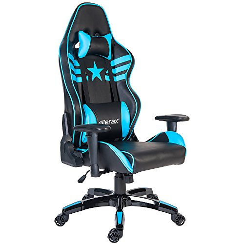 51sldij225L - Merax-Hero-Series-Ergonomic-High-Bck-Swivel-Racing-Style-Gaming-Chair-with-Lumbar-Support-and-Headrest-Blue