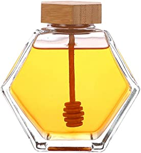 1PCS Empty Transparent Hexagon Square Glass Sealed Jar Bottle Honey Citron Tea Tank Reusable Container Caramel Molasses Canister Syrup Pots With Wooden Lid Stirring Rod For Food Storage (220ML/7.4OZ)