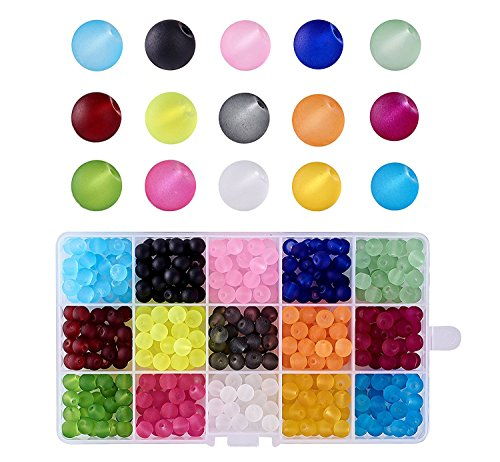 Kissitty About 420pcs/box 15 Color Transparent Frosted Glass Round Beads Set 8mm for Jewelry Craft Making with Container